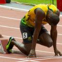 Usain Bolt on the starting blocks